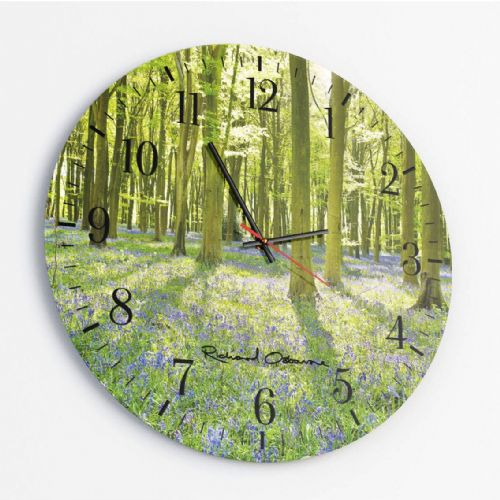 Bluebell Forest - Round Glass Clock